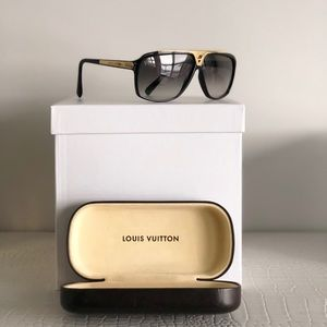 Louis Vuitton Unisex Black Sunglasses & Gold trim